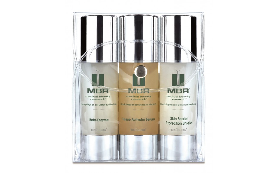 MBR Travel Set - Beta-Enzyme Exfoliator, Tissue Acivator Serum, Skin Sealer Protection Shield 3 x 30 ml
