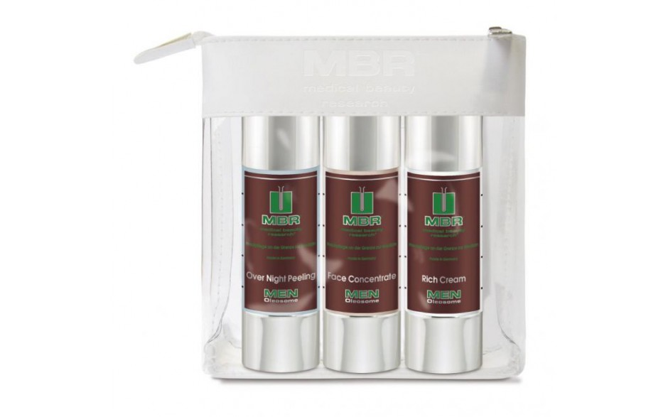 MBR Men Travel Set - Over Night Peeling, Face Concentrate, Rich Cream 3 x 50 ml